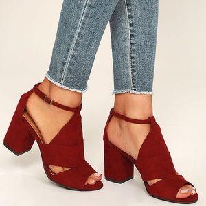 Burgundy suede peep-toe heels